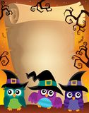 Halloween parchment with owls theme 2 Stock Photos