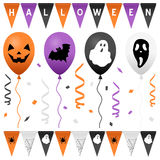 Halloween-Partei-Flaggen u. Ballone eingestellt Lizenzfreies Stockfoto