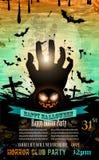 Halloween-Partei-Flieger mit gruseligen bunten Elementen Lizenzfreies Stockfoto