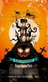 Halloween-Partei-Flieger mit gruseligen bunten Elementen Stockfotografie
