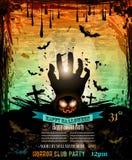 Halloween-Partei-Flieger mit gruseligen bunten Elementen Stockbild