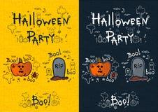 Halloween-Partei, Hand gezeichnete Karikatursätze Stockfoto