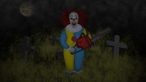 Halloween-Partei mit Monstern und Kettensäge stock abbildung