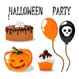 Halloween-Partei stellte mit Lebensmittel, Ballonen, Kürbis und dem Schädel ein Lizenzfreie Stockfotos