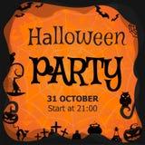 Halloween-Parteieinladung, Flieger, Fahne, orange Vektorgrußkarte Stockfotografie