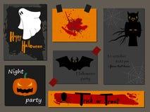 Halloween-Parteieinladung, Grußkarte, Flieger, Fahne, Plakatschablonen Hand gezeichnete traditionelle Symbole, nettes Design Lizenzfreie Stockfotografie