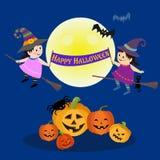 Halloween-Parteihintergrund mit netter Hexe vektor abbildung