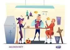 Halloween-Parteikonzept Leute im Kostüm von Monstern feiern Flaches Charakterdesign Stockbild