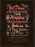 Halloween-Parteitypographie Schablone für Karte-Plakat-Flieger Stockbilder