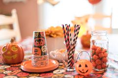 Halloween-Parteiversorgungen Stockbilder