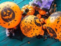 Halloween-partij ballooons en decoratie Stock Foto