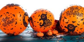Halloween-partij ballooons en decoratie Stock Afbeelding