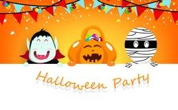 Halloween-partij, confettien, vampier, pompoen en brijbeeldverhaalkarakter die met leuk karakter, de affiche van het vieringsfest stock illustratie