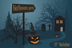 Halloween-partij dichtbij de begraafplaats en het hout Enge pompoen twee stock illustratie