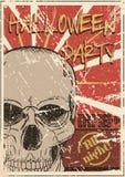 Halloween-Partij grunge affiche Stock Afbeeldingen