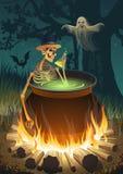 Halloween-partij met een vuur, een skelet, een Spook en een knuppel royalty-vrije illustratie