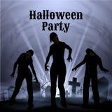 Halloween-Partij met griezelig wit licht op een griezelig kerkhof Royalty-vrije Stock Foto's