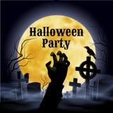 Halloween-Partij op een griezelig kerkhof onder volle maan Stock Fotografie
