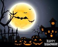 Halloween-partij op volle maan Stock Foto