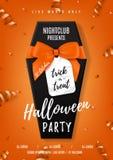 Halloween-partij vectoraffiche met zwarte doodskist Stock Afbeeldingen