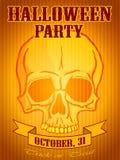 Halloween-Partijachtergrond met Menselijke Schedel Royalty-vrije Stock Afbeeldingen
