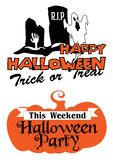 Halloween-partijaffiche en banner Royalty-vrije Stock Foto's