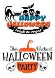 Halloween-partijbanner en affiche Stock Foto