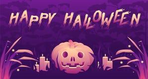 Halloween-partijbanner met griezelige teksten vector illustratie