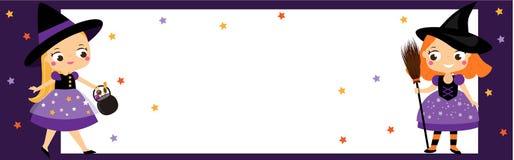 Halloween-partijbanner met leuke kleine heksen Uitnodigingen, reclame met kinderenmeisjes royalty-vrije illustratie