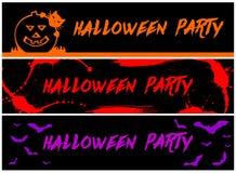 3 Halloween-Partijbanners Stock Fotografie