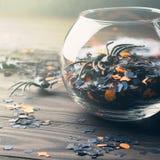 Halloween-partijconfettien en spinnen op dark Stock Fotografie