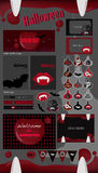 Halloween-partijinzameling vectorhalloween-etiketten, pictogrammen, elementen, groetkaart Royalty-vrije Stock Afbeelding