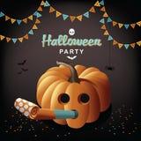 Halloween-partijpompoen en ventilator Royalty-vrije Stock Afbeeldingen