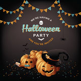 Halloween-partijpompoenen en confettien Stock Foto's