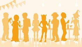 Halloween-Partijsilhouet Royalty-vrije Stock Afbeeldingen