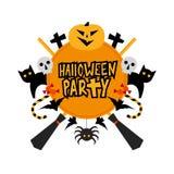 Halloween-partijteken met pompoen, knuppels, katten, heksenhoed Stock Afbeeldingen