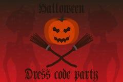 Halloween-Partijuitnodiging Vakantiekaart, vlieger Royalty-vrije Stock Afbeelding