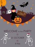 Halloween-Partijuitnodiging Vector illustratie Plaats voor uw tekstbericht Halloween-menuontwerp affiche Stock Foto