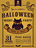 Halloween-Partijuitnodiging Vector kaart Royalty-vrije Stock Afbeeldingen
