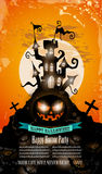 Halloween-Partijvlieger met griezelige kleurrijke elementen Stock Fotografie