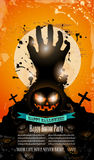 Halloween-Partijvlieger met griezelige kleurrijke elementen Royalty-vrije Stock Foto's