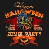 Halloween-Partijvlieger met Illustratie van Vrouwelijk Zombiemeisje stock illustratie