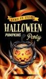 Halloween-Partijvlieger met Pompoen en Brandvlammen Stock Foto