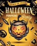 Halloween-Partijvlieger met Pompoen op Pantser Royalty-vrije Stock Foto