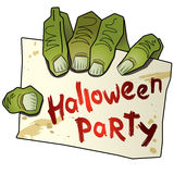 Halloween party (3) hand of zombi . The hand of zombi holds a table with text  halloween party Royalty Free Stock Photo