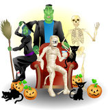 Halloween Party. A vector illustration of some monster friends enjoying Halloween Royalty Free Stock Photos