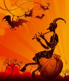 Halloween party. The devil is sitting on the pumpkin. Perfect for a Halloween party invitation or poster Royalty Free Stock Photography