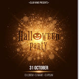 Halloween party. Abstract golden lights. Big bright flash of light. Gold dust. Cartoon Halloween pumpkin. Beautiful text on the ba Royalty Free Stock Images