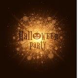 Halloween party. Abstract golden lights. Big bright flash of light. Gold dust. Cartoon Halloween pumpkin. Beautiful text on the ba Royalty Free Stock Photos