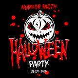 Halloween-Party-Auslegungschablone, mit Kürbis und Platz für Text Lizenzfreie Stockbilder
